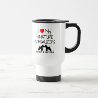 Custom I Love My Two Miniature Schnauzers Travel Mug