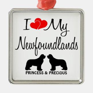 Custom I Love My Two Newfoundlands Christmas Ornament