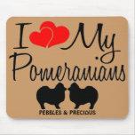 Custom I Love my Two Pomeranians Mousepad
