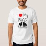 Custom I Love My Two Pugs Tshirts
