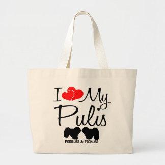 Custom I Love My Two Pulis Bag