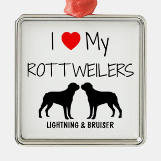 Custom I Love My Two Rottweilers Silver-Colored Square Decoration