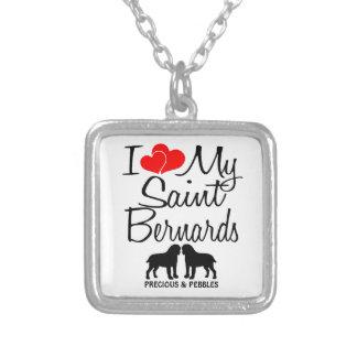 Custom I Love My Two Saint Bernard Dogs Necklace