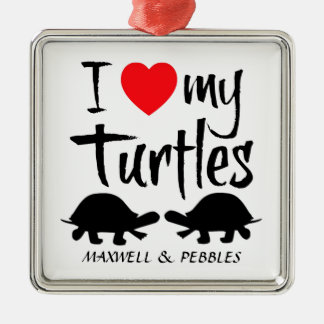 Custom I Love My Two Turtles Silver-Colored Square Decoration