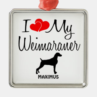 Custom I Love My Weimaraner Christmas Ornament