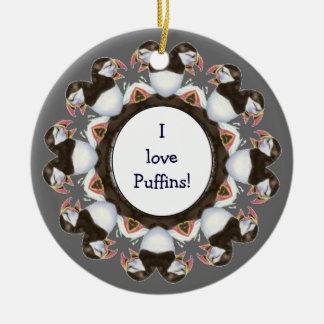 "Custom ""I love Puffins"", Cute Watercolor Bird Christmas Ornament"