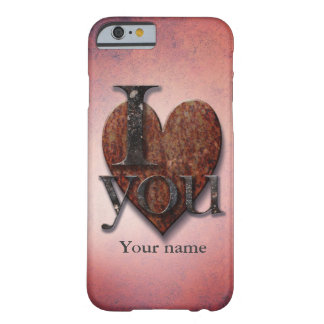 "Custom ""I Love You"" Pink Steampunk Valentine Heart Barely There iPhone 6 Case"