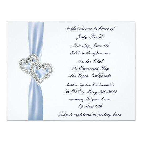 Custom Ice Blue Hearts Bridal Shower Invitation