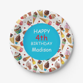 Custom Ice Cream Print Child's Birthday Plate