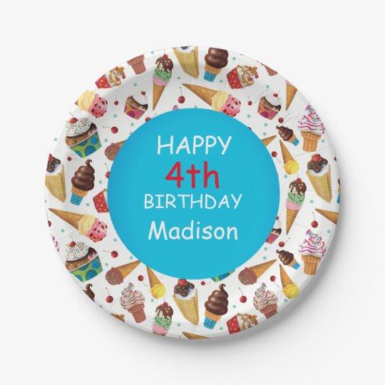 Custom Ice Cream Print Child's Birthday Plate