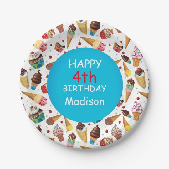 Custom Ice Cream Print Child's Birthday Plate 7 Inch Paper Plate