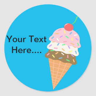 Custom Ice Cream  Stickers. Classic Round Sticker
