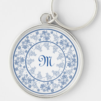 Custom Indigo Blue Floral Border Round Keychain