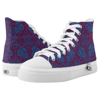 Custom Indigo Blue Floral Faux Lace Pattern Printed Shoes