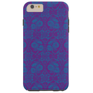 Custom Indigo Blue Floral Faux Lace Pattern Tough iPhone 6 Plus Case