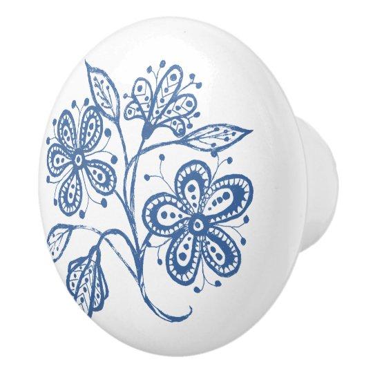 Custom Indigo Blue on White Floral Drawer Knob