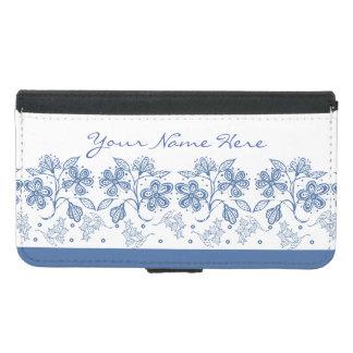 Custom Indigo Floral Border Wallet Case