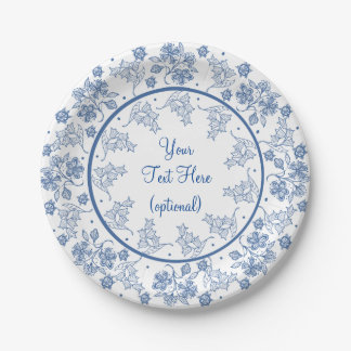 Custom Indigo on White Floral Border Paper Plate