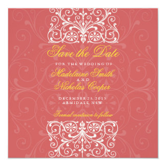 Custom indigo red and white vintage save the date 13 cm x 13 cm square invitation card
