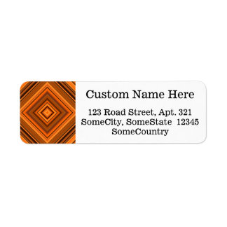 Custom Info + Brown & Orange Squares Pattern Return Address Label