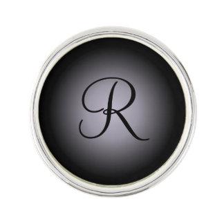 Custom initial gray black fade lapel pin