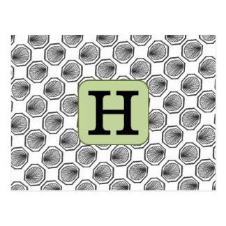 Custom Initial Hexagon Postcards