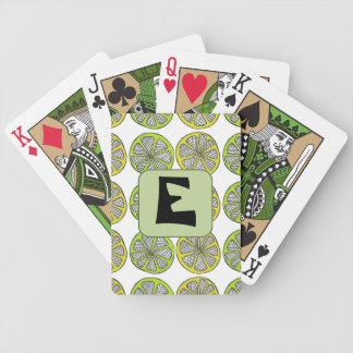 Custom Initial Lemon-Lime Playing Cards