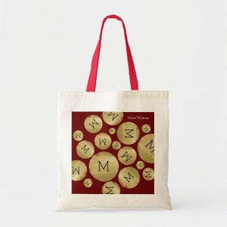 custom initial letter on golden balls pattern wine