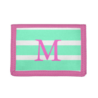 Custom Initial Mint and Pink Stripe Wallet