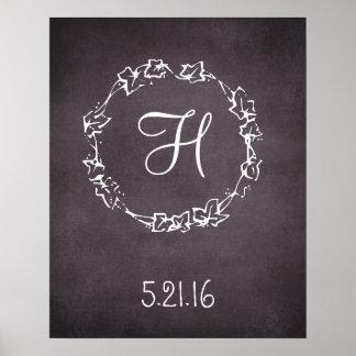 Custom initial monogram and date wedding sign poster