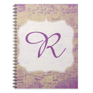 Custom Initial Music Notebook Purple Grungle