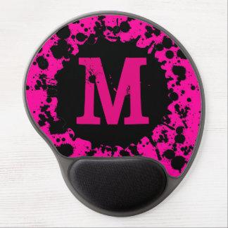 Custom initial pink paint splatter gel mousepad