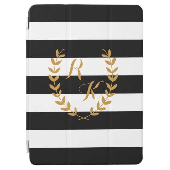 Custom Initial Preppy iPad Case with Golden Wreath