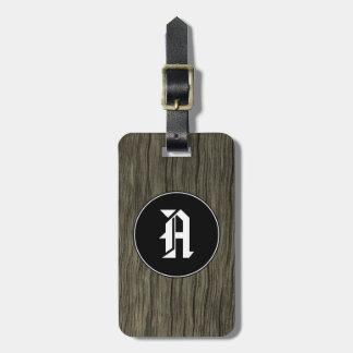 Custom Initial + Rustic Wood Look Pattern Luggage Tag