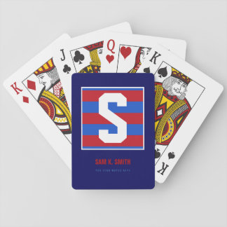 custom_initial S, name + text, striped monogram Playing Cards