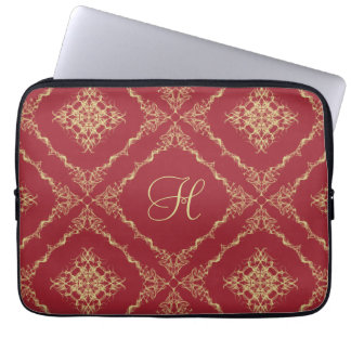 Custom Initial Tudor Inspired Gold and Red 13 Inch Laptop Sleeve