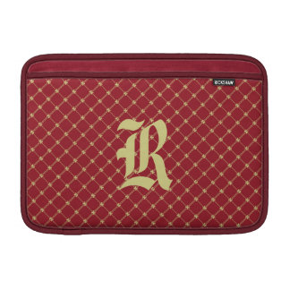 Custom Initial Tudor Red and Gold Pattern 11 Inch MacBook Sleeve