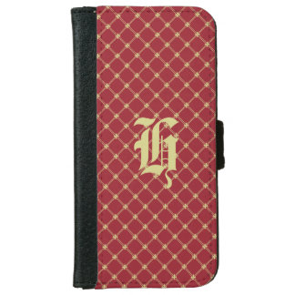 Custom Initial Tudor Red and Gold Pattern iPhone 6 Wallet Case