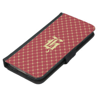 Custom Initial Tudor Red and Gold Pattern Samsung Galaxy S5 Wallet Case
