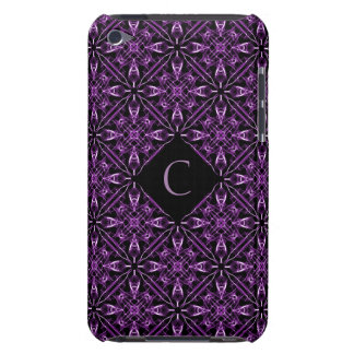 Custom Initial Victorian Purple Fractal Pattern iPod Touch Covers