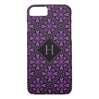 Custom Initial Victorian Purple Fractal Pattern iPhone 8/7 Case