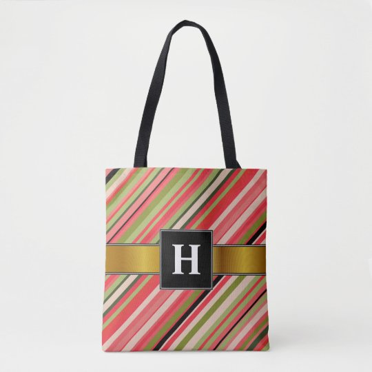 Custom Initial + Watermelon-Inspired Stripes Tote Bag