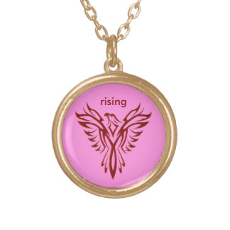 Custom initials - Crimson Phoenix Rising on Pink Gold Plated Necklace