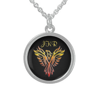 Custom initials - Flame Phoenix Rising on Black Sterling Silver Necklace