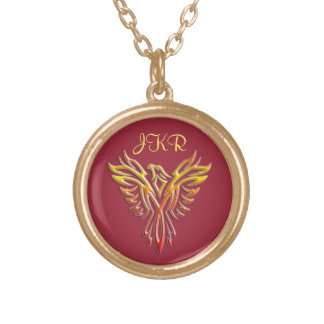 Custom initials - Flame Phoenix Rising on Maroon Gold Plated Necklace