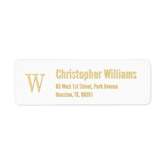 Custom Initials Golden Modern Return Address Label