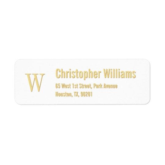 Custom Initials Golden Modern Return Address Label