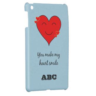 Custom initials monogram heart smile blue iPad mini cases