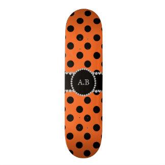 Custom initials orange black polka dots skate board deck