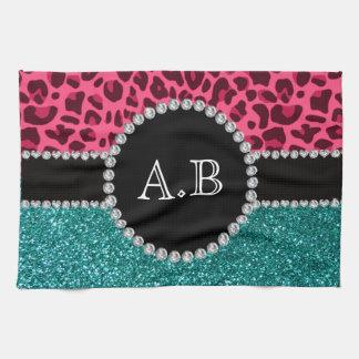 Custom initials pink leopard turquoise glitter tea towel